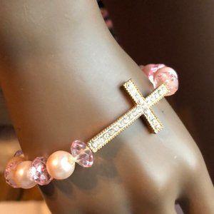Rhinestone Cross Beaded Bracelet